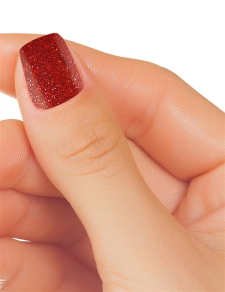 Esmalte permanente color rojo con purpurina billante 15ml (2)